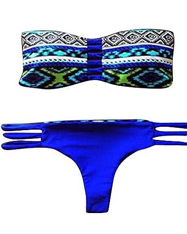 Yipgrace Les Femmes Brésilienne Millésime Triangle Bandeau Maillot De Bain Rembourré Push Up Bikini Ensemble Costume De Bain Bikinis Femme M Saphir