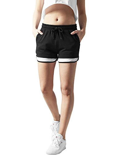 Urban Classics Ladies Terry Mesh Hotpants-Shorts Donna    Mehrfarbig (blk/wht 50) 46