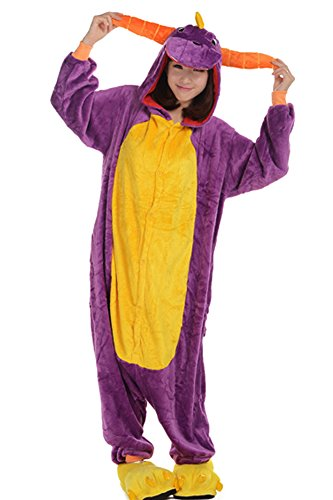 DELEY Unisex Adulto Onesie Anime Cosplay Costume Cartoon Animali Kigurumi Pigiama di Felpa Pigiameria Viola Drago M