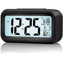 Secbell Despertador Reloj con alarma de 5.3 pulgadas - Despertador LED con información de fecha, función snooze, sensor luminoso y luz nocturna (Negro)