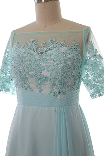 MACloth Women Off Shoulder Mother of Bride Dress Short Sleeve Lace Formal Gown Weinrot