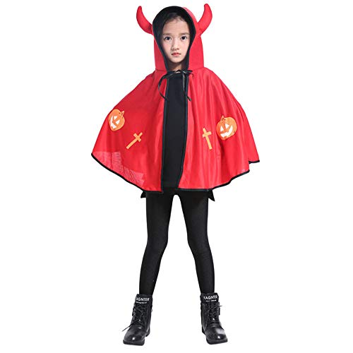 (Riou Kinder Langarm Halloween Kostüm Top Set Baby Kleidung Set Kinder Erwachsene Kinder Halloween Baby Kostüm Ochsenhorn Umhang Cape Robe (Freie Größe, Rot))
