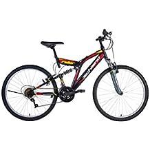 """F.Lli Schiano Rider Power 18V Bicicleta Biamortiguada, Negro/Rojo, 26"""""""