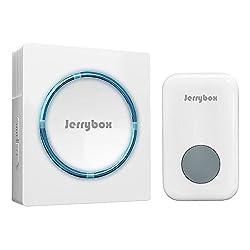 Jerrybox Tragbares Funkklingel Set, Kabellose Türklingel, Door Bell, 48 Klingeltöne, 200m Reichweite, Weiß, 1 Empfänger, 1 Klingelknopf Sender