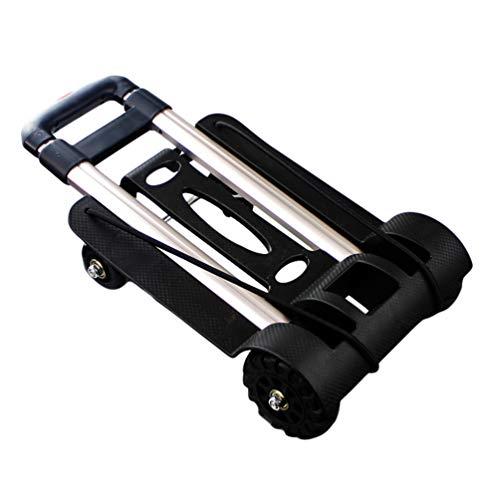 YiiJee Zusammenklappbarer Gepäckwagen Maximale Belastbarkeit 75 KG Einfarbig Vier Räder Transportkarre (Schwarz #2)