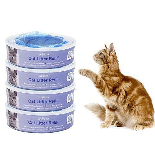 Signstek Recharges Anti-odeurs pour Chat, Recharges pour Poubelle à Litière Litter Locker II | Lot de 4 (Supérieur Bleu)