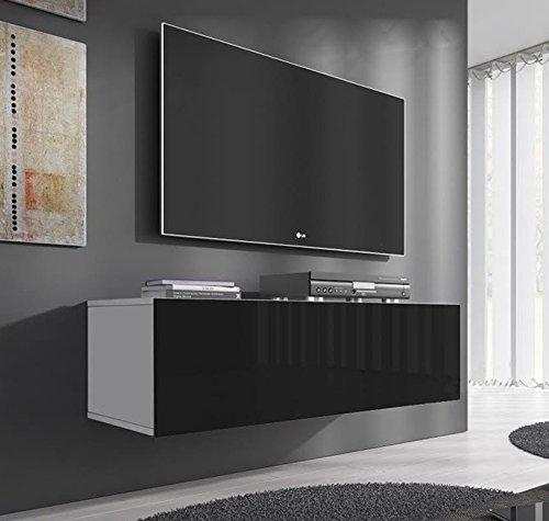 MUEBLES BONITOS - MUEBLE TV MODELO FORLI M (100 CM) EN COLOR BLANCO CON NEGRO
