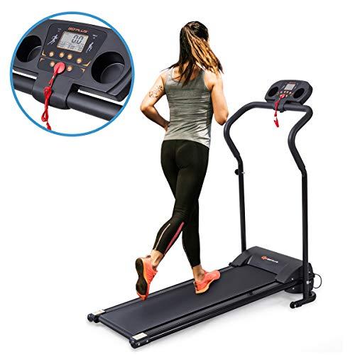 Goplus Laufband klappbar, Laufmaschine für Zuhause, Heimtrainer Laufen, elektrisch mit Motor bis 10km/h, Belastbarkeit bis 120 kg