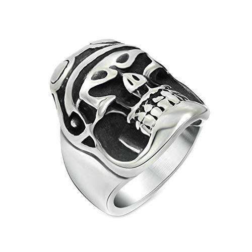 YBMEN Männer Edelstahl Ring Vintage Retro Schädel mit Schutzhelm Band Ring Silber