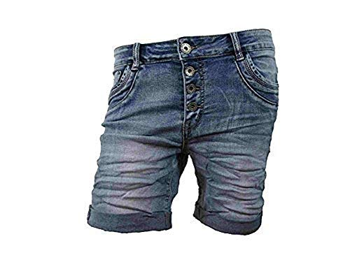 Denim Krempel Boyfriend Baggy Stretch Shorts Bermuda Knöpfe offene Knopfleiste (Weitere Farben) (L-40, Denim)