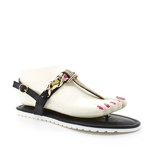 London Footwear - Cinturino a T donna Nero (nero)