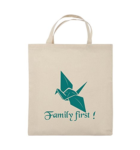 Comedy Bags - Family First Origani - PRISONBREAK - Jutebeutel - kurze Henkel - 38x42cm - Farbe: Schwarz / Silber Natural / Türkis