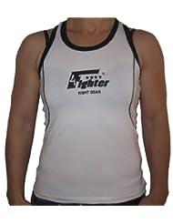 4Fighter Ladytop / chemise de femme / Haut de Fitness blanc avec les contours noirs
