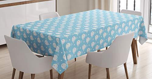 ABAKUHAUS Wal Tischdecke, Blaue Baby-Dusche-Design, Für den Inn und Outdoor Bereich geeignet Waschbar Druck Klar Kein Verblassen, 140 x 240 cm, Hellblau Weiß