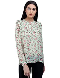 Ombre Lane Womens Floral Regular Fit Synthetic Shirt
