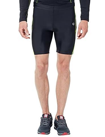 Ultrasport Herren Fitnesshose, kurz – Sport Shorts für Männer mit Quick-Dry-Funktion für schnelles Trocknen / kurze Funktionshose, geeignet für sämtliche Sportarten, Schwarz/Neon Gelb, M