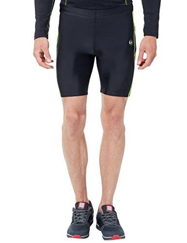 Ultrasport Pantaloni Jogging per Uomo con Funzione Quick Dry, Corto, Nero/Neon Giallo, L