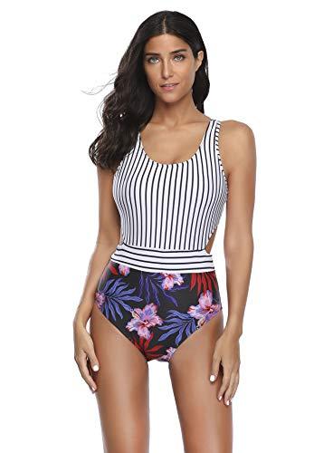 Big D Halfter (Reteron Damen Monokini mit Reißverschluss Racerback hohe Taille Einteiler - Mehrfarbig - Large)