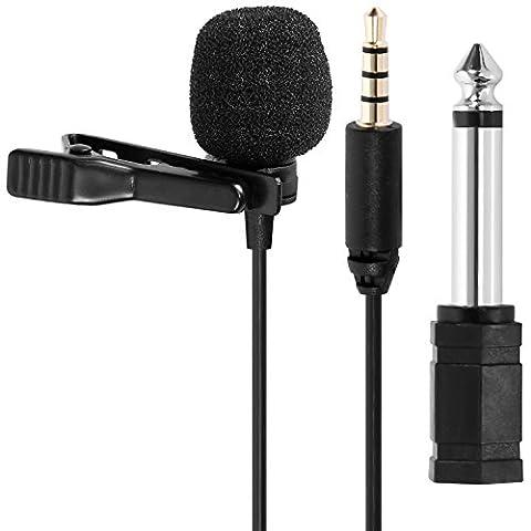 Tonor Lavalier Lapel Mini Mikrofon Omnidirektional Kondensator-Mikrofon für Smartphones&DSLR, Kamera für Audio & Video Recording