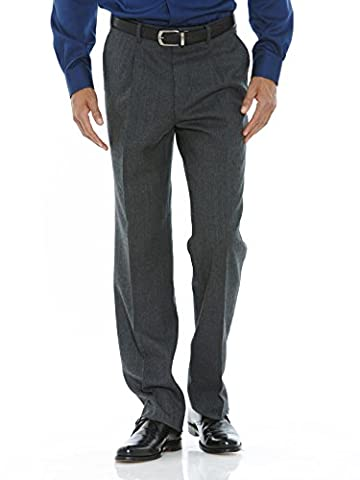 Savile Row Men's Grey Flannel Formal Classic Fit Trouser 34