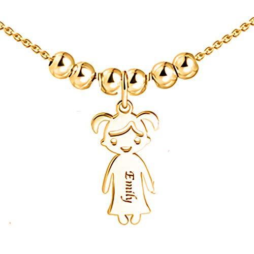 Personalisierte Namenskette für Mütter Gravur 1 bis 5 Kinder Namen-Mutter Name Halskette Boy und Girl Charms für Muttertag 925er Sterling Silber (Halskette Charms Personalisierte)