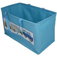 JVL Boy Kids Car Design Folding Toy Storage Bag with Handles, polyester, Blue