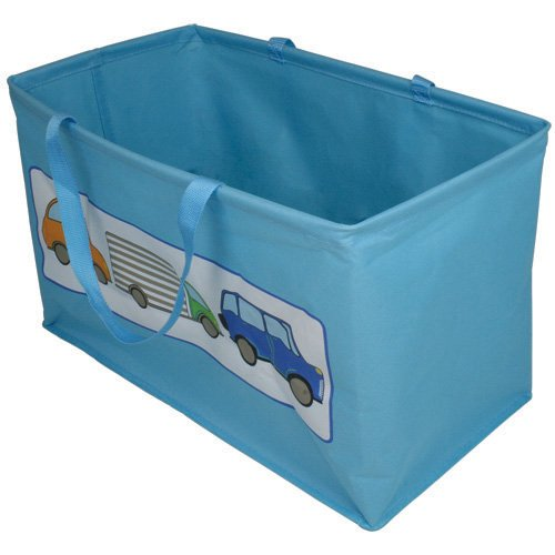 jvl-boy-kids-folding-toy-storage-bag-with-handles-car-design-blue