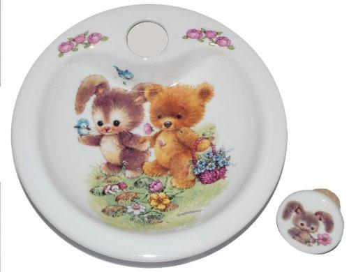 Unbekannt Warmhalteteller Porzellan Hase mit Teddy - Keramik Kind Kinder Kindergeschirr Kinderservice Reutter -