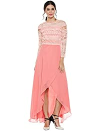 Peach drop sleeves net asymmetric dress