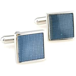 cufflink cuivre bleu galvanoplastie de haute qualité des hommes en acier blanc manchette boutons de manchette avec boîte-cadeau 170284