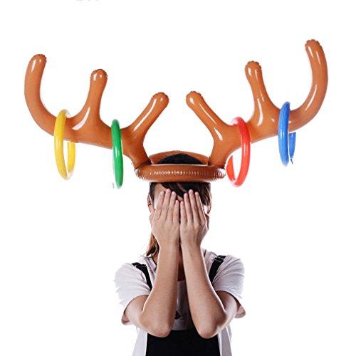 Rentier Weihnachten Hut Geweih Ring Wurf Urlaub Party Spiel Rentiergeweih auf Haarreif Spielzeug Dekor (2pcs) ()