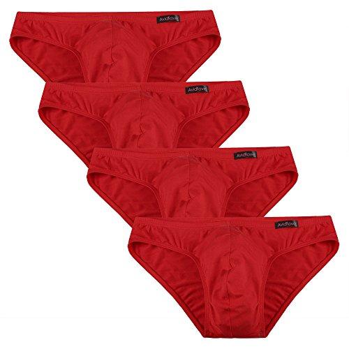 Avidlove Herren Unterwäsche 4er Pack, Slips Micro Modal - seidenweich Unterhose 4 x Rot