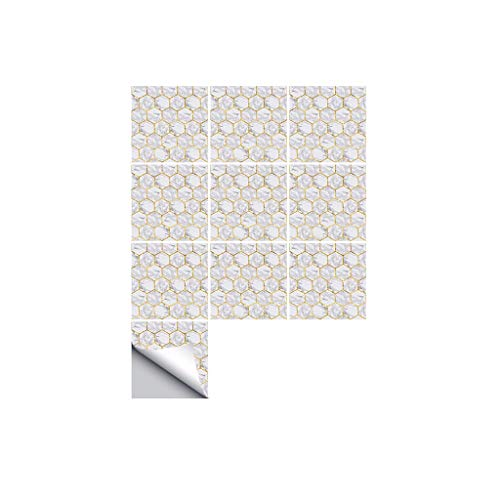 YWLINK Adhesivo De Pared De Azulejos Hexagonal Estilo MáRmol De 10 Piezas Tile Art Metope Tatuajes De Pared Sticker DIY Kitchen Bathroom Decor Impermeable Cocina O Cualquier Otra Superficie Lisa