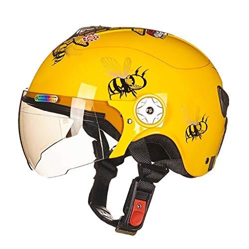JHERT Casco Moto per Bambini Outdoor Sports Casco Moto Four Seasons Universal per Cartoni (Color : Yellow, Size : M)
