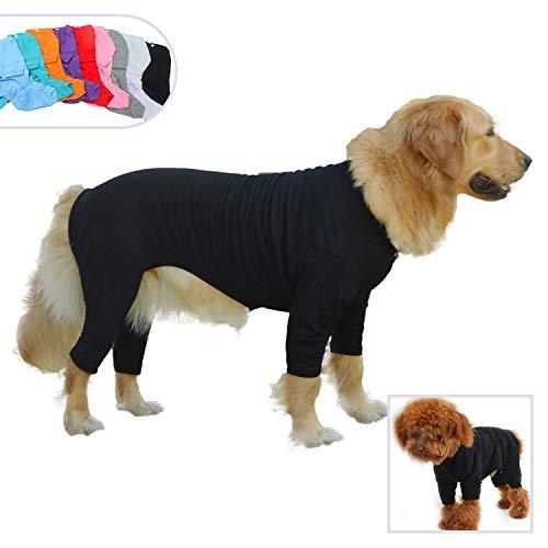 Kostüm Strampelanzug Tragen - lovelonglong Hund Pyjamas 4 Beine Bedeckt Welpen Kleidung Elastische Atmungsaktive Hund Overalls Mantel für Kleine, Mittlere, Große Hunde Black XXL