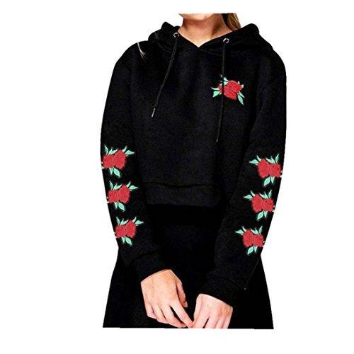 Fheaven Women Long Sleeve Embroidery Applique Hoodie Sweatshirt Crop Top Coat Short Sports Pullover Tops