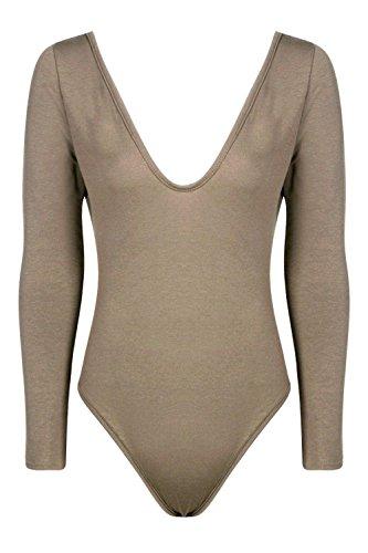 Femmes Khaki Leah Basic Long Sleeve V Neck Body Kaki