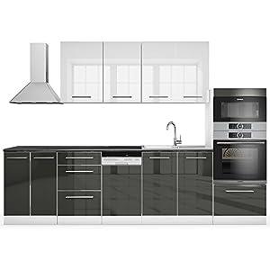 Vicco Küche S-Line Küchenzeile Küchenblock Einbauküche 295cm Antharzit-Weiß Hochglanz