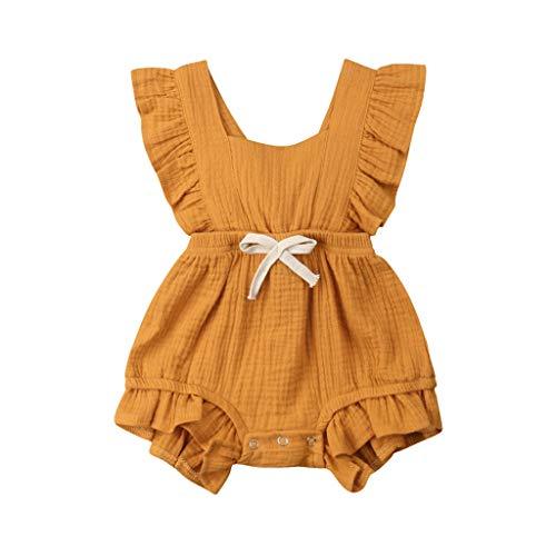 Heligen_Baby Sommer Baby Jungen Mädchen Farbe Solide Rüschen Rückkreuzspielanzug Bodysuit Strampler Bodysuit Overall Outfits Sunsuit Neugeborene Baby Feste Overall Spielanzug ()