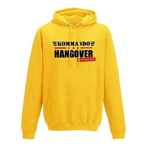 Hoodie Kommando Hangover Elitetrinker JGA Party feiern 10 Farben Herren XS - 5XL Karneval Gruppen Outfit Partyurlaub Verein Reise Malle, Größenauswahl:L, Farbauswahl:gelb - Logo schwarz