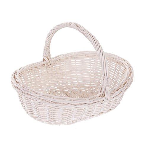 Einkaufskorb aus Weide, weißer Bügelkorb, Weidenkorb, oval, Geschenkkorb
