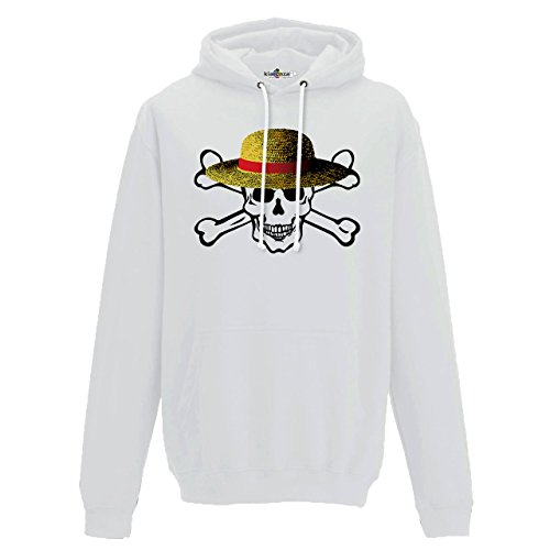 KiarenzaFD Sweatshirt à Capuche Tête de Mort Chapeau Paille Dessins animés Fashion Cool Drapeau Streetwear Homme, Arctic White, M