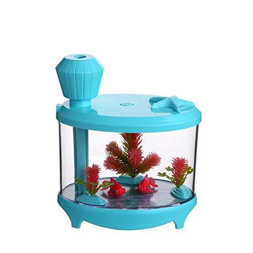 1949shop Zuhause der zweiten Generation Aquarium Lampe Luftbefeuchter USB Mini kreative Geschenk Schreibtisch Farbe Licht Luftbefeuchter (Farbe: Blau, Größe: 14,5 * 12,5 * 8,6) -