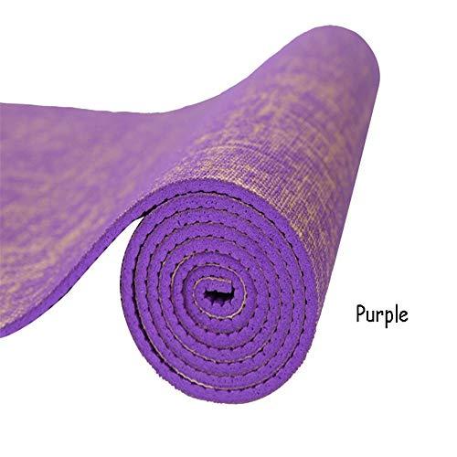 GGreenary 183 * 61 cm * 5mm natürliche Jute Yoga Matte pad umweltfreundliche Reversible hybrid leinen Yoga Matte kit für Yoga Pilates & Fitness übung (Color : Purple) (Jute-matte Yoga)