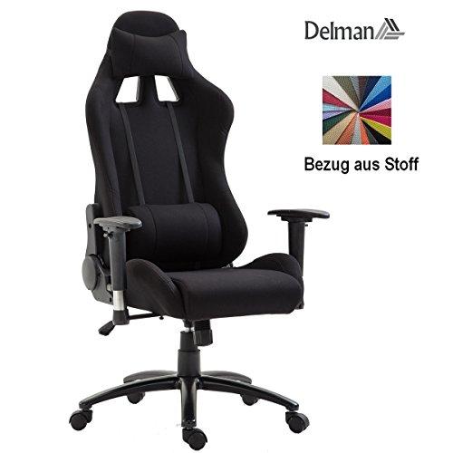 Delman Racing Bürostuhl Schreibtischstuhl Gaming Chair Drehstuhl Computerstuhl Stoff Bezug mit Kissen einstellbaren Armlehnen Ergonomisch höhenverstellbar 02-0020 (Schwarz) (Polsterung Stoff Schwarz Und Weiß)