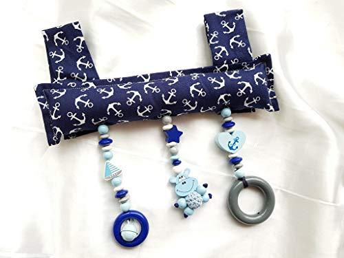 Baby Mobile Clip für den Tragegriff der Babyschale oder Wippe Hippo Boot (Dunkelblau, Grau) (Mobile Beleuchtete Baby)