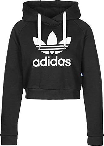 adidas Trefoil Crop Sweat-Shirt à Capuche Femme, Noir, FR : M (Taille Fabricant : 42)