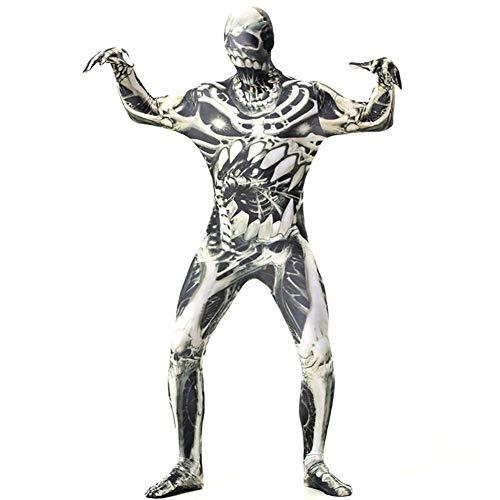 Satanist Kostüm - Halloween Gruseliger Bodysuit Totenkopf Outfit für Karneval Party Alien Kleidung Jumpsuit -B1 Gr. M, M