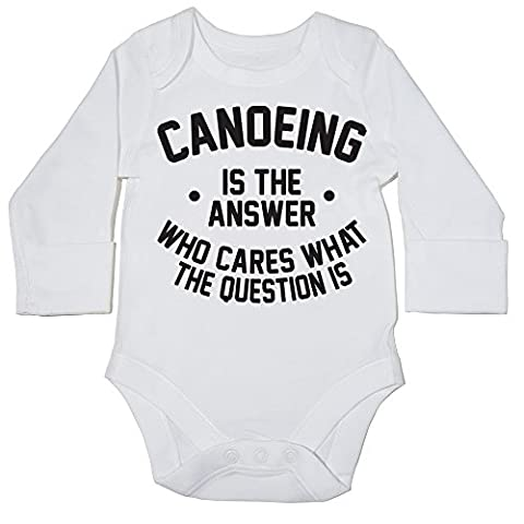 HippoWarehouse Canoeing is the Answer Who Cares What the Question Is baby bodysuit (long sleeve) boys girls