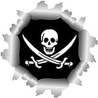 Aufkleber Pirat Totenkopf Rainbow Autoaufkleber Sticker 24 x 21 cm